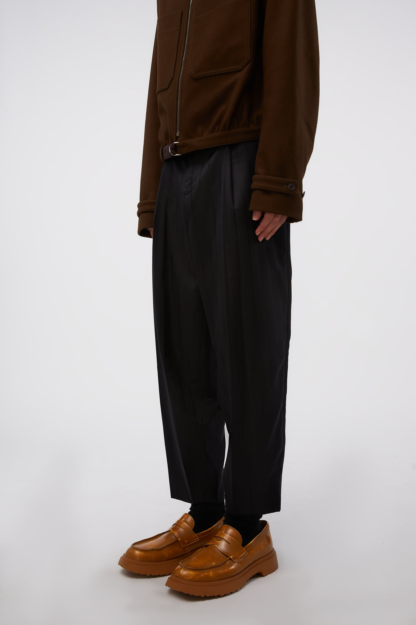 Stripe Detailing Tapered Leg Trousers Black
