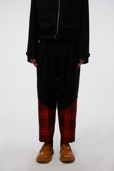 COMME des GARÇONS Homme Plus - Cropped Tailored Trousers Black X Red Tartan Check