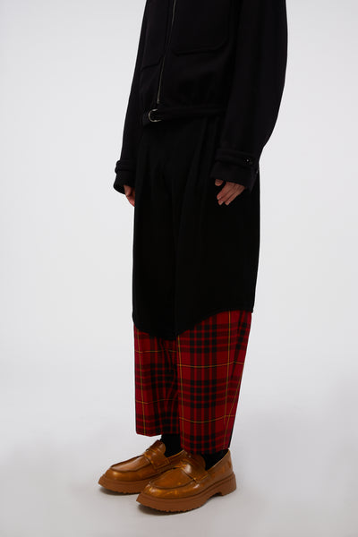 Cropped Tailored Trousers Black X Red Tartan Check