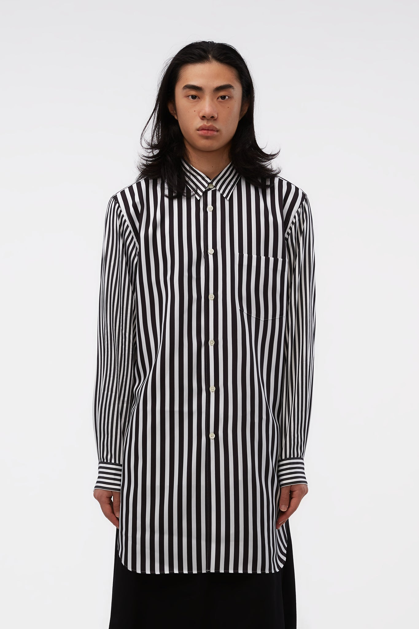 L/S Striped Layered-look Longline Black/white Shirt
