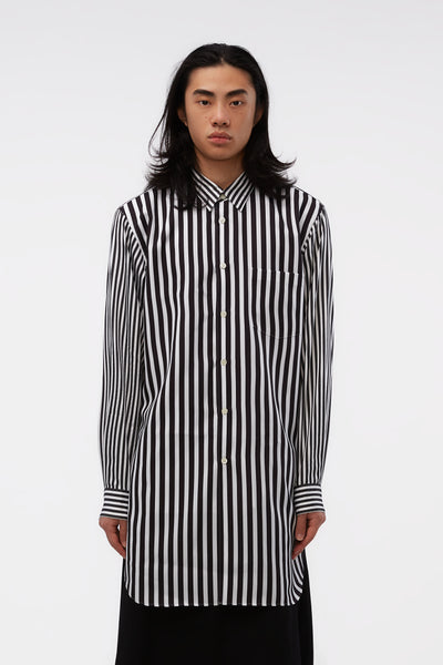 COMME des GARÇONS Homme Plus - L/S Striped Layered-look Longline Black/white Shirt