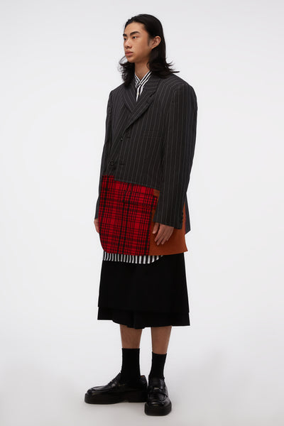 Asymmetrical Multi Fabrics Stripe Jacket Grey Multicolor