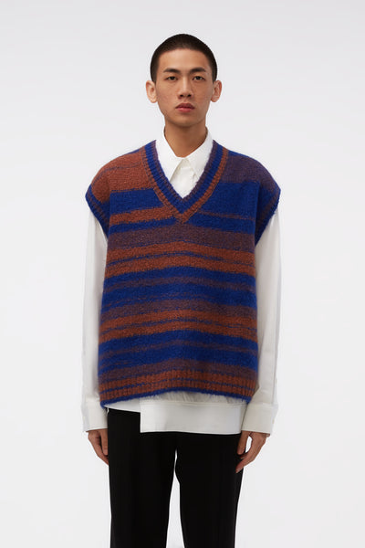 WOOYOUNGMI - Blue/brown Oversized Knit Vest