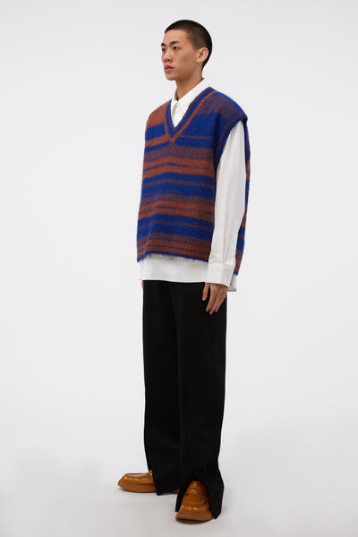 Blue/brown Oversized Knit Vest
