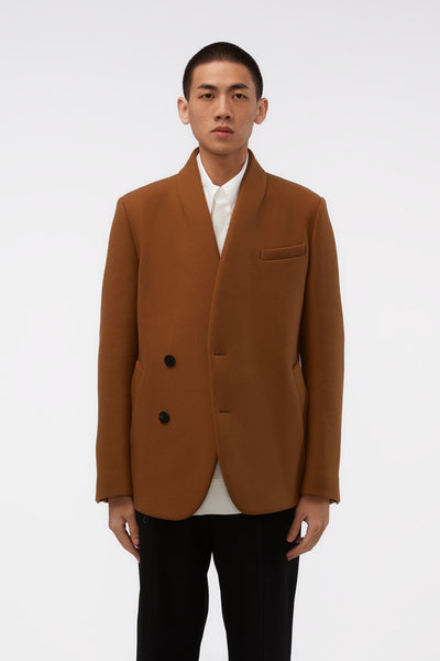 WOOYOUNGMI - Beige Collarless 2 Buttons Jacket