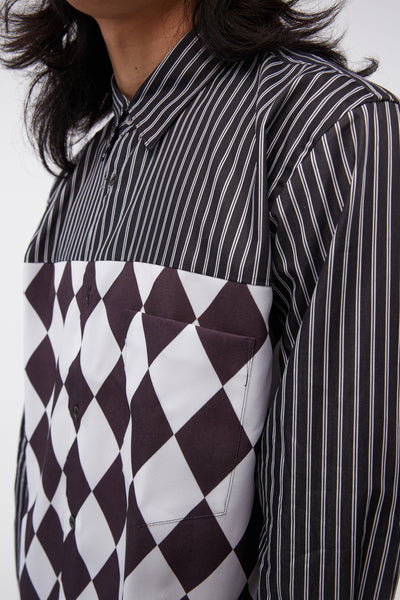 L/S Pinstripe-Diamond Print Black/white Shirt