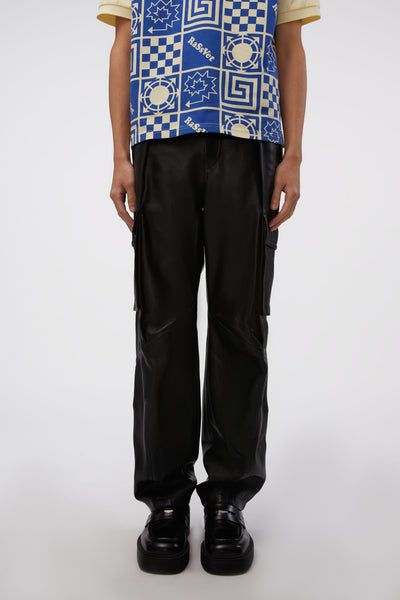 WOOYOUNGMI - Leather Cargo Trousers Black