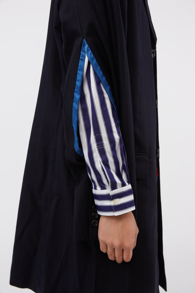Wool Stripes Elbow-detail Coat Navy