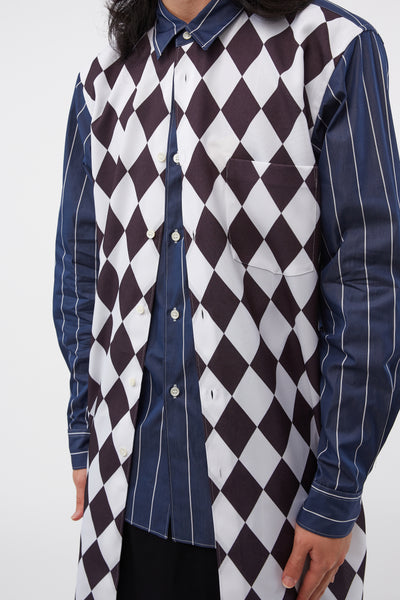 L/S Pinstripe-Diamond Print Blue/black Shirt