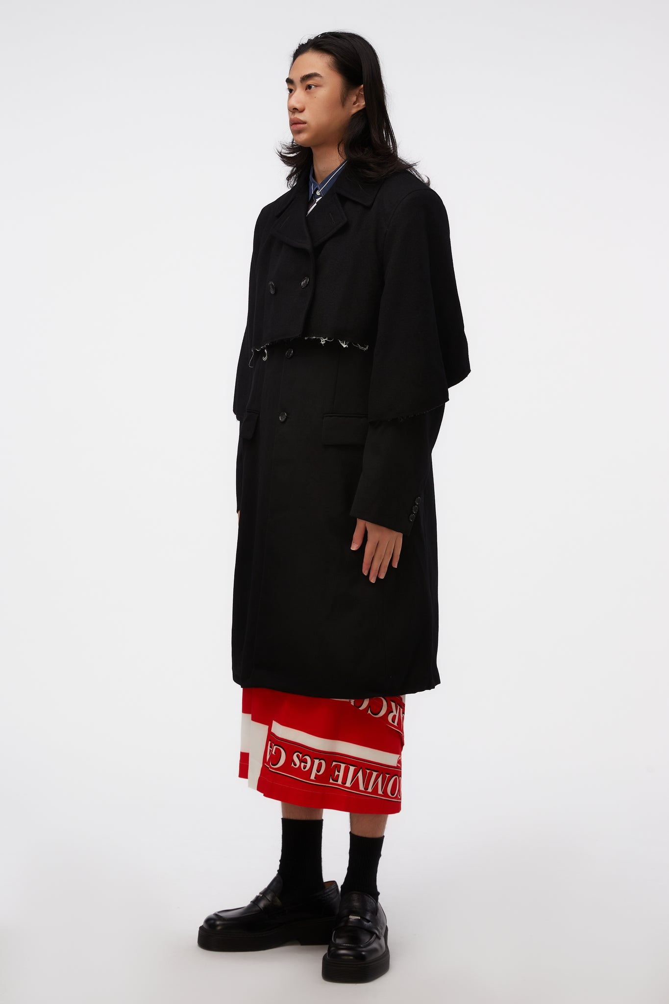 Layered Raw Edge Trenchcoat Black