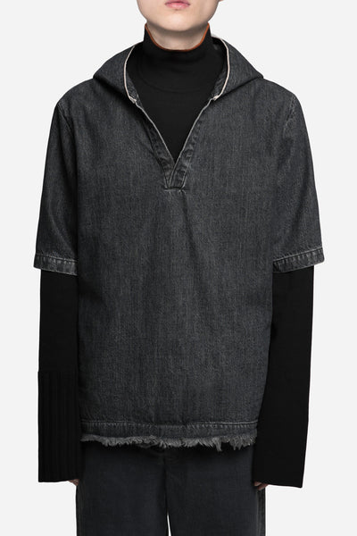 Seven Seconds of Memory - Hooded Open Collar Mandarin Shirt Toil Grey Wash