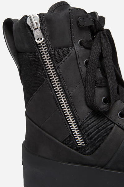 Military Leather Sneakers Black