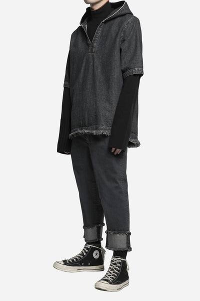 Hooded Open Collar Mandarin Shirt Toil Grey Wash