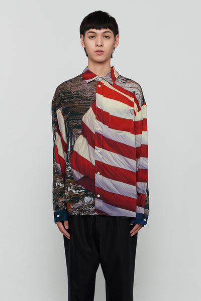 424 - Detroit Button Up Shirt American Flag