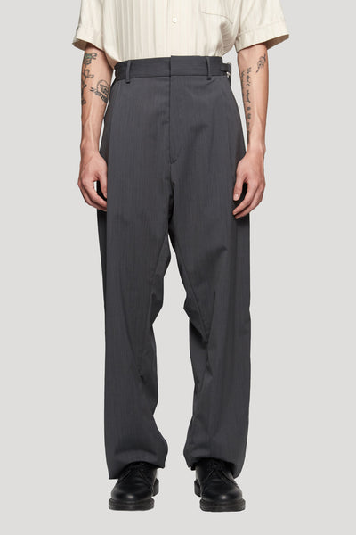 GmbH - TAREK' Pleated Wide Trousers Wool Blend Dark Grey Stripes