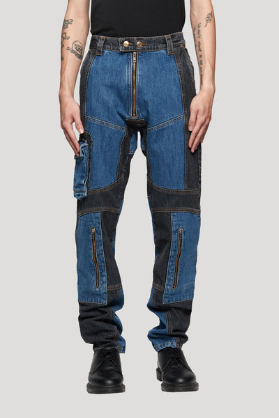 GmbH - Cargo Jeans W / Exposed Zip Black/Blue