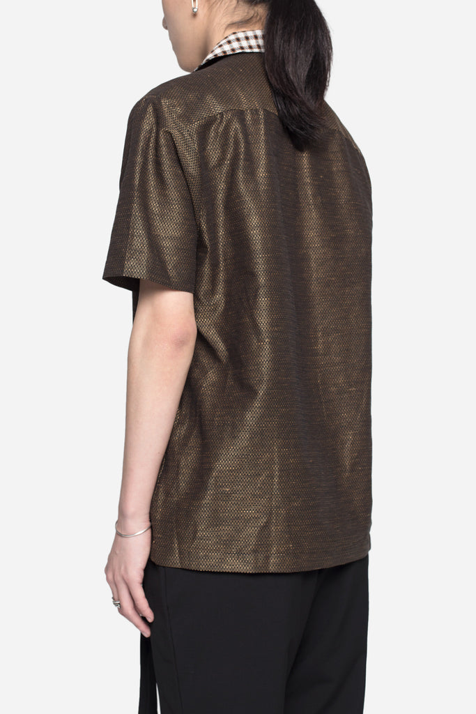 Duncan Boxy SS Shirt Brown Jacquard