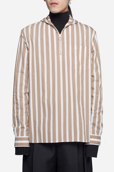 CMMN SWDN - Wil Striped Hooded Zip Shirt Beige