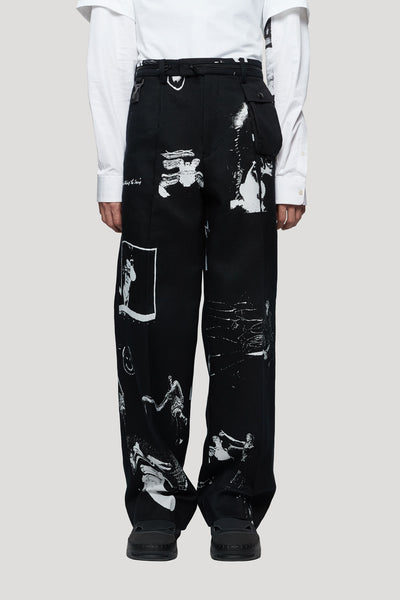 Undercover - Graphic Printed Trousers Black