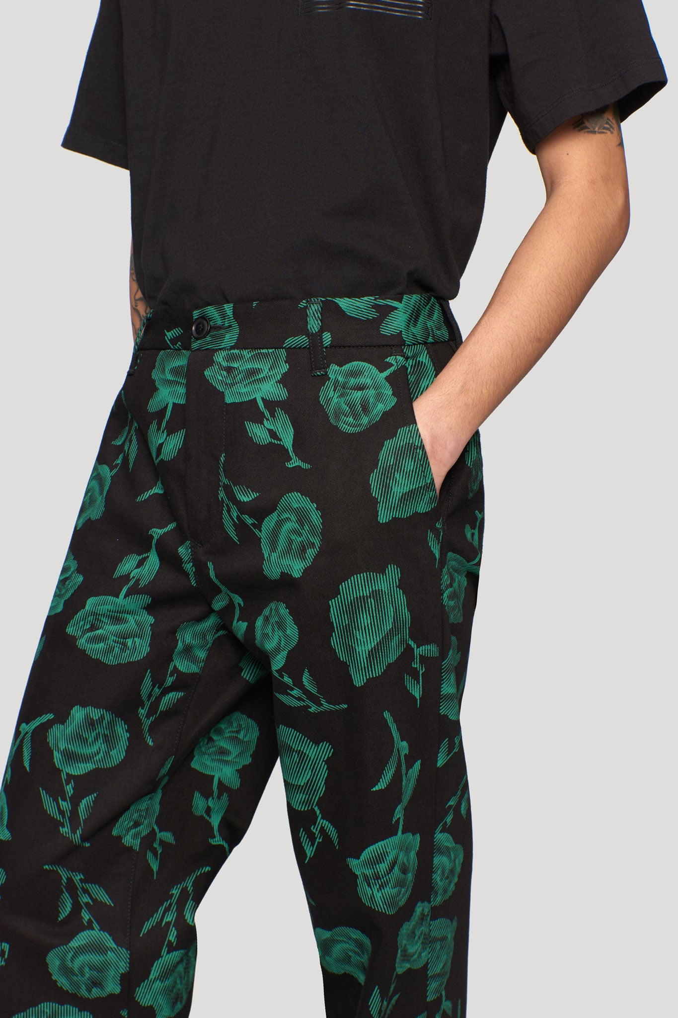 Rose Chinos Black/green