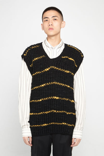 Marni - Black Yellow Stripe Knit Vest