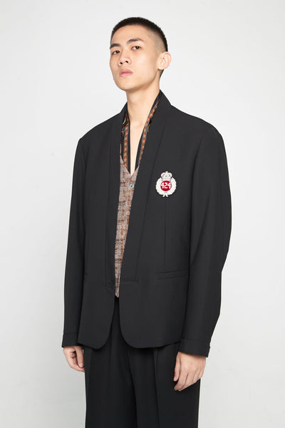 424 - Black Chest Logo Blazer