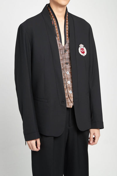 Black Chest Logo Blazer