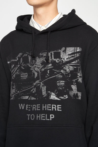 We Are Here To Help Glitter Hoodie Black