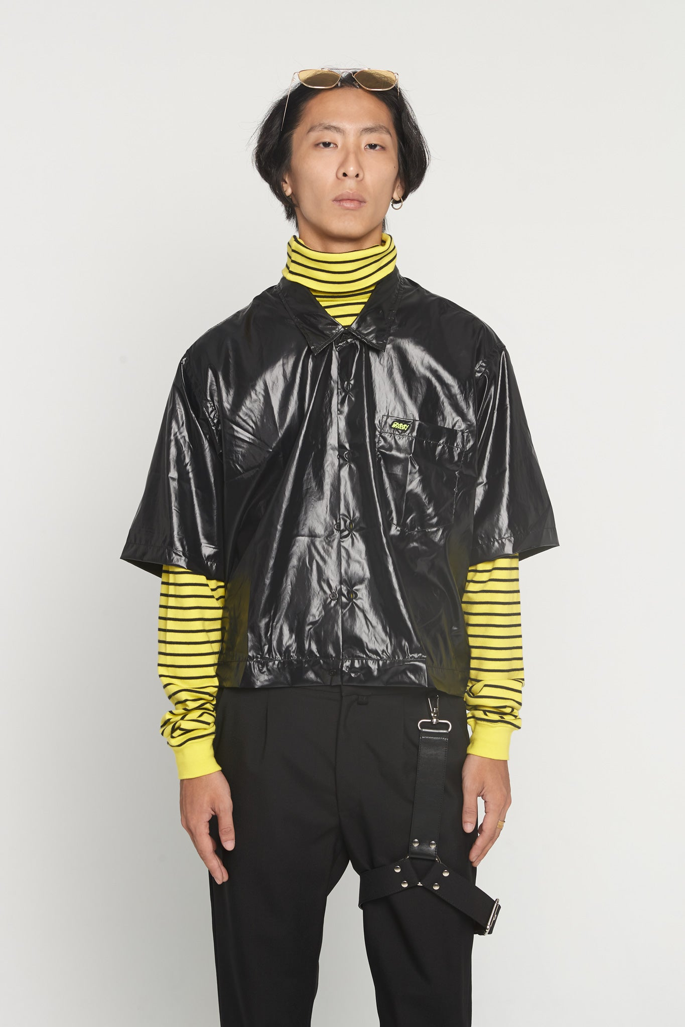Damien Dropped Neck Black SS Boxy Shirt