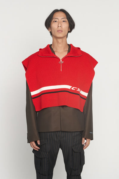 CMMN SWDN - Arran Red Hooded Zip Poncho