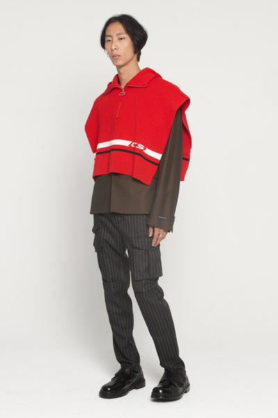 Arran Red Hooded Zip Poncho