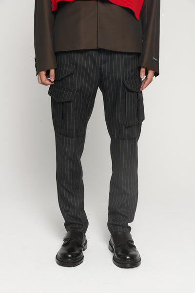 CMMN SWDN - Storm Brown Pinstripe Multi pocket Trousers
