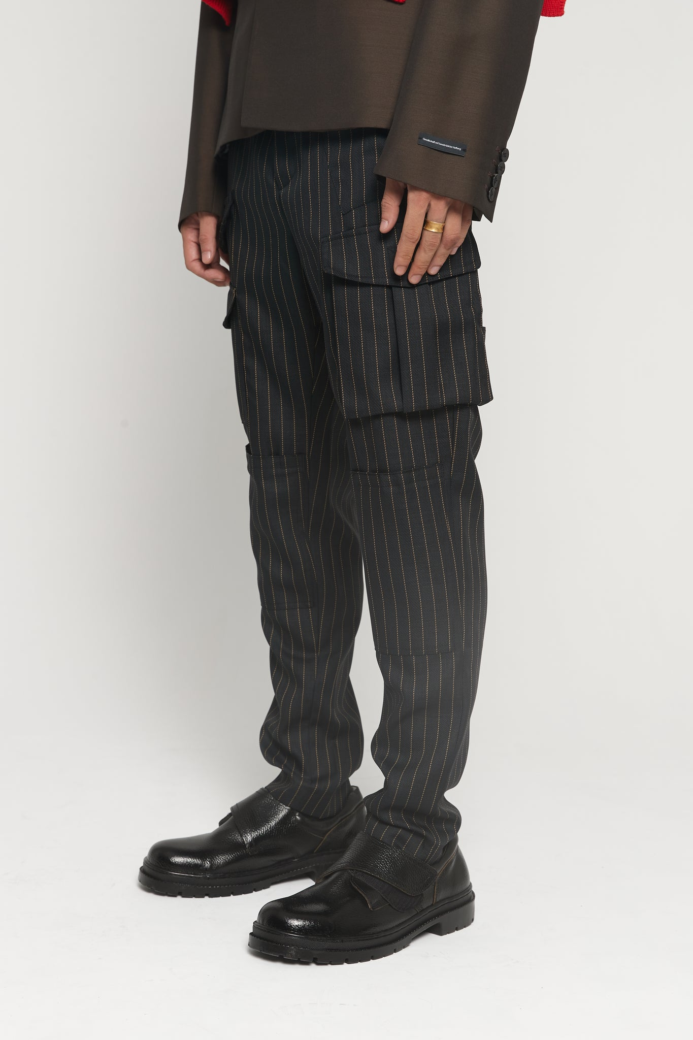 Storm Brown Pinstripe Multi pocket Trousers