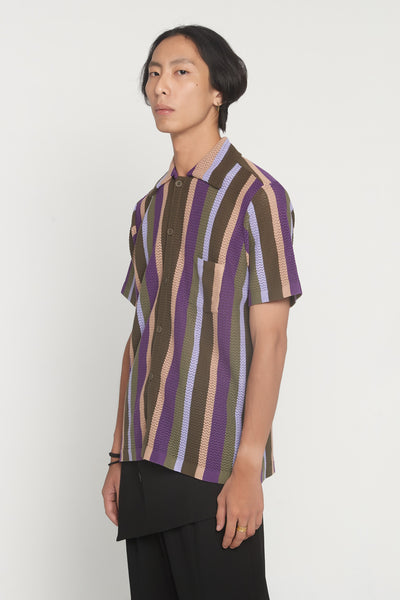 CMMN SWDN - Wes Lavender Stripe Knitted Shirt