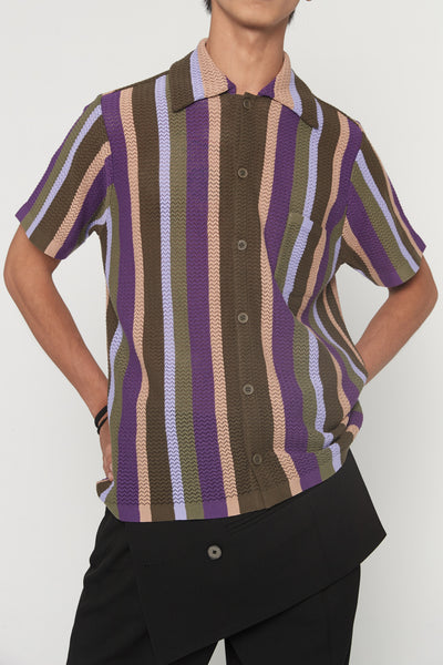 Wes Lavender Stripe Knitted Shirt