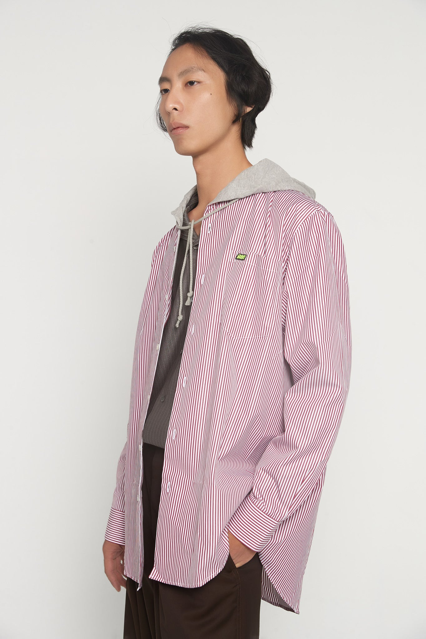 Riley Red Stripe LS Hooded Shirt
