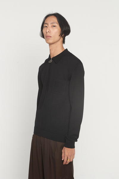 CMMN SWDN - Curtis Black Half Zip Polo Sweater