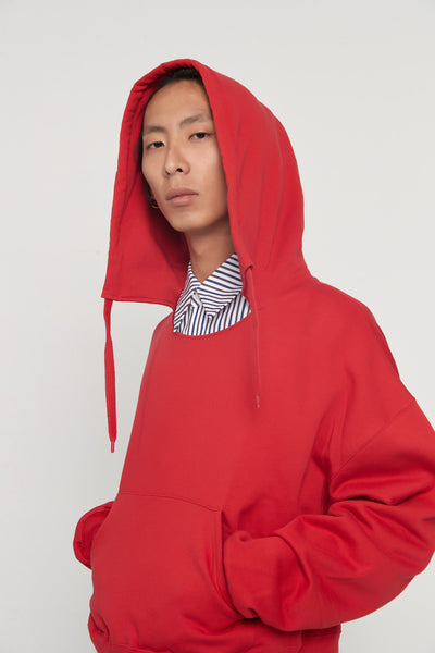 CMMN SWDN - Tyrone Red Boxy Hoodie