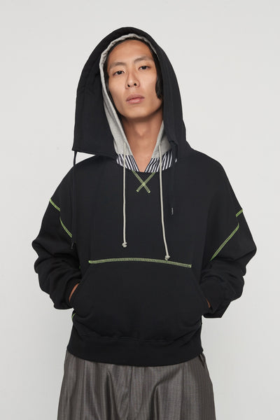 CMMN SWDN - Tyrone Contrast Black/Acid Yellow Boxy Hoodie