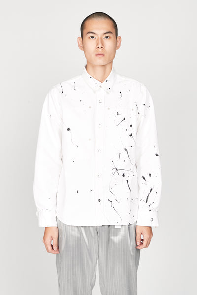 Vyner Articles - Long Sleeve Oil Print White Denim Worker Shirt