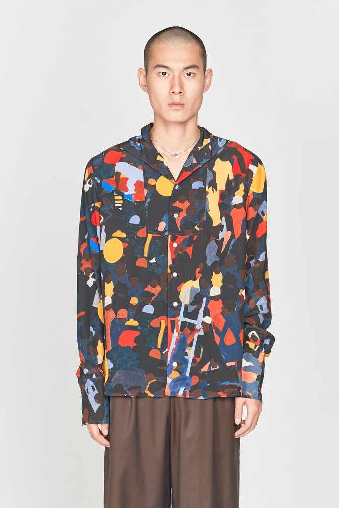 Evening Placket Sailor Shirt FA14-Multicolor Crowd Print