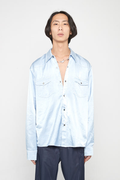 Our Legacy - Saloon Evening Shirt Blue Satin