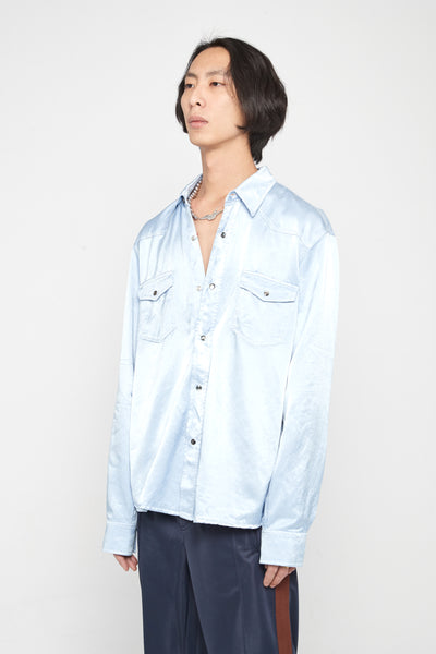 Saloon Evening Shirt Blue Satin
