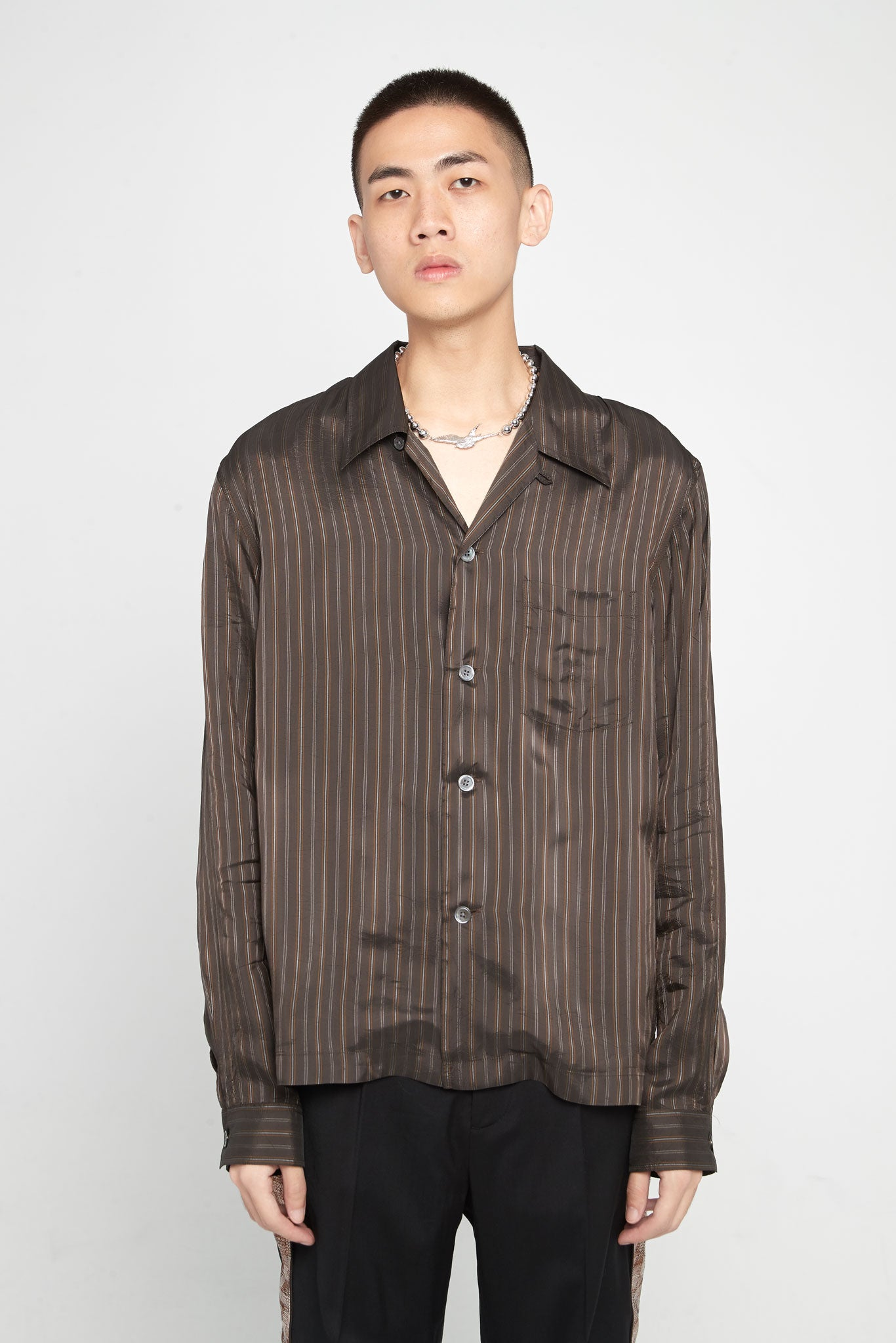 P.X. Evening Shirt Brown Stripe