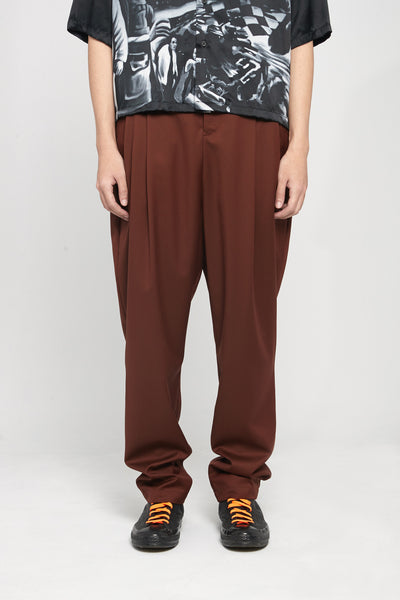Closed Window - Dan Wide Leg Carrot Trousers Cinnamon Brown