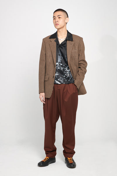 Dan Wide Leg Carrot Trousers Cinnamon Brown