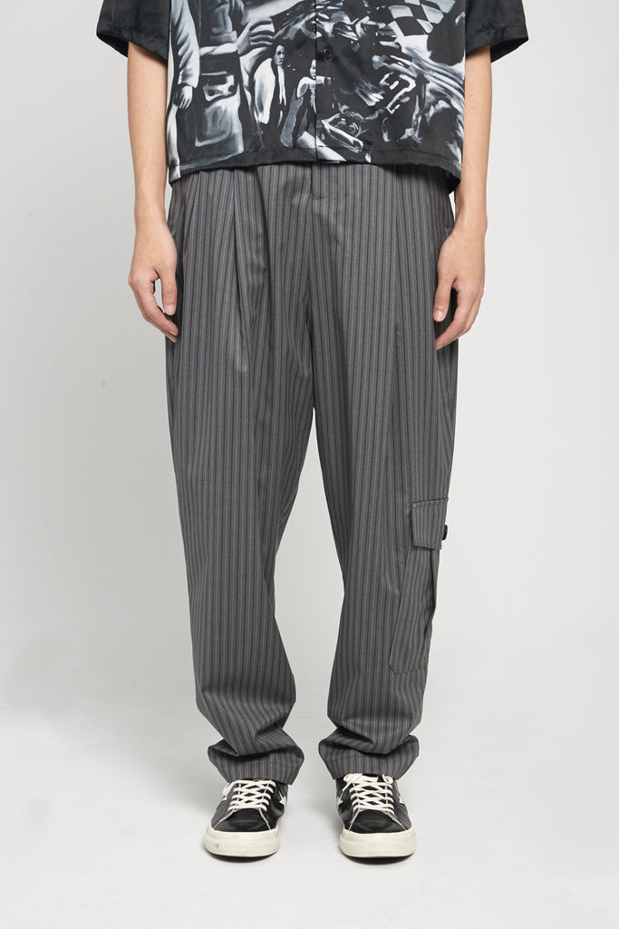 Dan Wide Leg Military Carrot Trousers Mud Grey Pinstripe