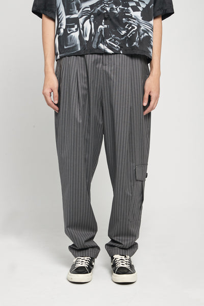 Closed Window - Dan Wide Leg Military Carrot Trousers Mud Grey Pinstripe