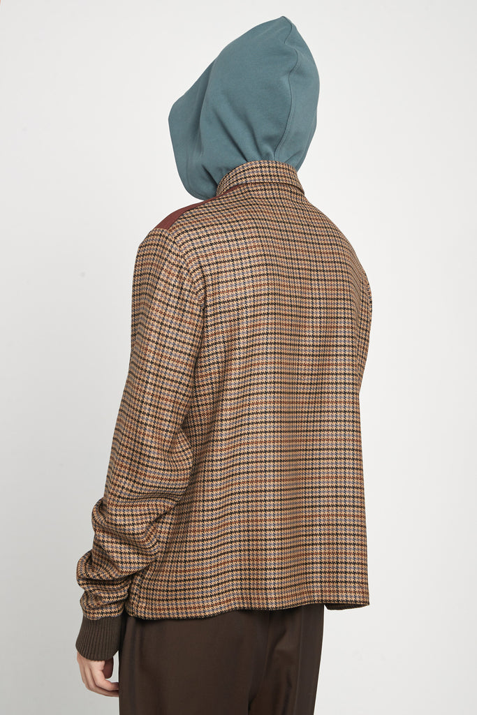 Leon Polo Hooded Shirt Spiced Latte Houndstooth