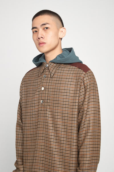 Closed Window - Leon Polo Hooded Shirt Spiced Latte Houndstooth